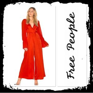 NWOT Free People Not Your Baby Jumpsuit Satin Red